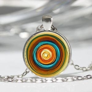 Swirl Necklace Southwestern Colors New